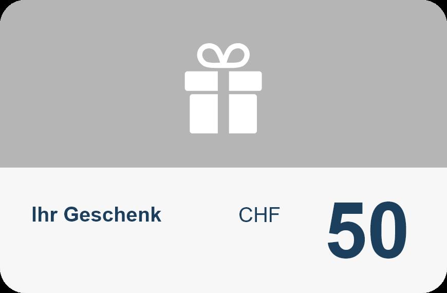 geschenkkarte der V&V Consulting GmbH für die vermittlung in höhe von CHF50